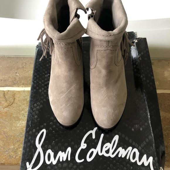 Sam Edelman Shoes - Sam Edelman tan booties with fringe (brand new)